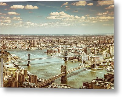 New York City - Brooklyn Bridge And Manhattan Bridge From Above Metal Print by Vivienne Gucwa