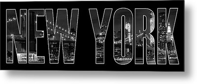 New York City Brooklyn Bridge Bw Metal Print by Melanie Viola