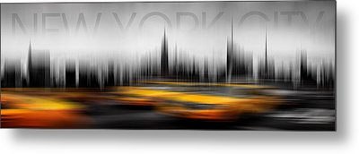 New York City Cabs Abstract Metal Print by Az Jackson