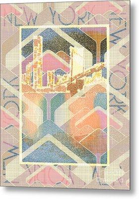 New York City In Pastel Tones - Manhattan Bridge Metal Print by Beverly Claire Kaiya