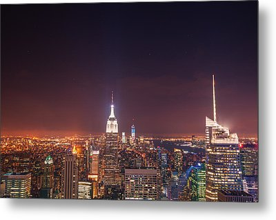 New York City Lights At Night Metal Print by Vivienne Gucwa