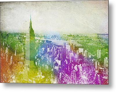 New York City Skyline Metal Print by Aged Pixel