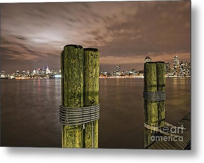 New York City Skyline From New Jersey Pier Usa Metal Print by Sabine Jacobs