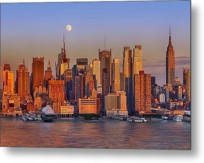 New York City Skyline Full Moon And Sunset Metal Print by Susan Candelario
