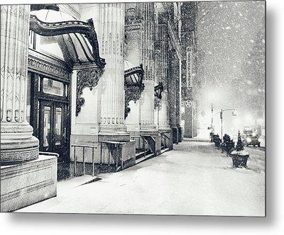 New York City - Snowy Winter Night Metal Print by Vivienne Gucwa