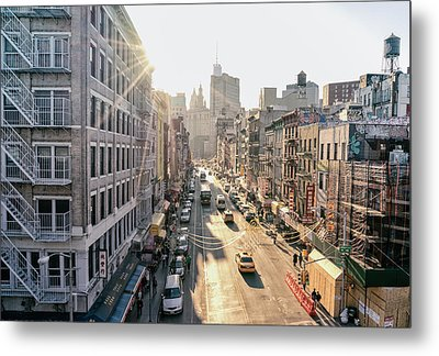 New York City - Sunset Above Chinatown Metal Print by Vivienne Gucwa