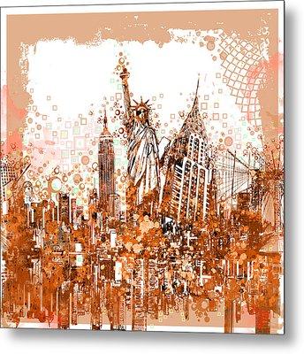 New York City Tribute 4 Metal Print by Bekim Art