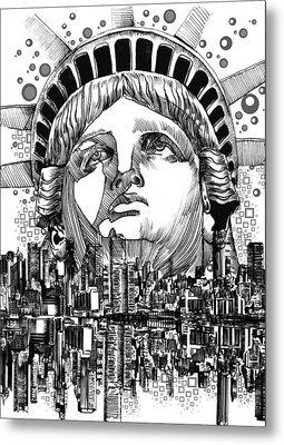 New York City Tribute Metal Print by Bekim Art