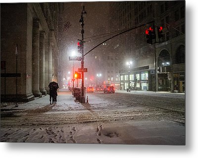 New York City Winter - Romance In The Snow Metal Print by Vivienne Gucwa