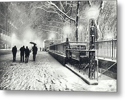 New York City - Winter - Snow At Night Metal Print by Vivienne Gucwa