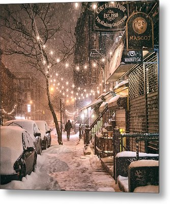 New York City - Winter Snow Scene - East Village Metal Print by Vivienne Gucwa
