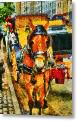 New York Horse And Carriage Metal Print by Dan Sproul