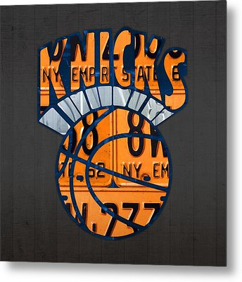New York Knicks Basketball Team Retro Logo Vintage Recycled New York License Plate Art Metal Print by Design Turnpike