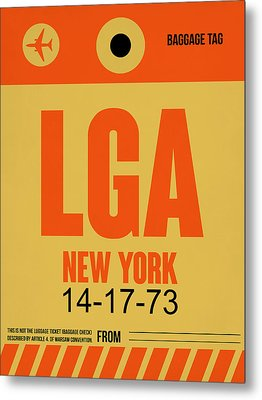 New York Luggage Poster 1 Metal Print by Naxart Studio