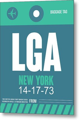 New York Luggage Poster 2 Metal Print by Naxart Studio
