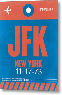 New York Luggage Tag Poster 1 Metal Print by Naxart Studio