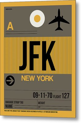 New York Luggage Tag Poster 3 Metal Print by Naxart Studio