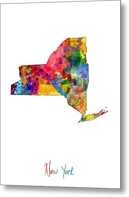 New York Map Metal Print by Michael Tompsett
