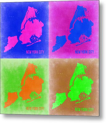 New York Pop Art  Map 2 Metal Print by Naxart Studio