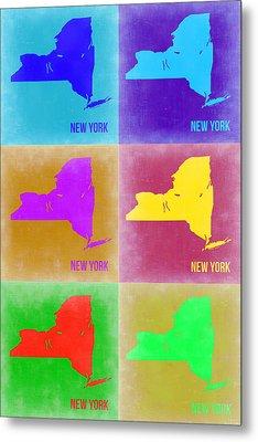 New York Pop Art  Map 3 Metal Print by Naxart Studio
