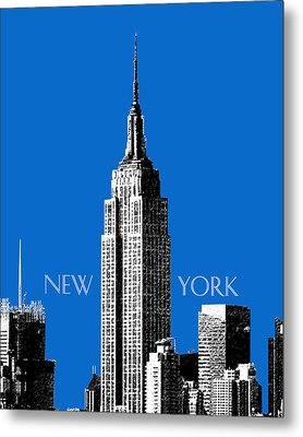 New York Skyline Empire State Building - Blue Metal Print by DB Artist