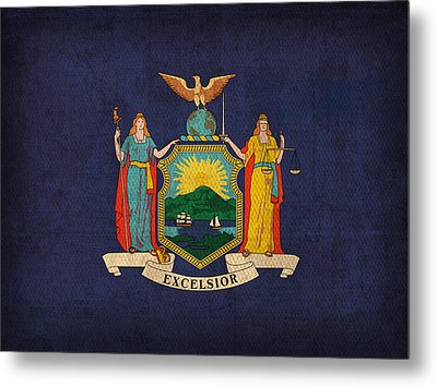 New York State Flag Art On Worn Canvas Metal Print by Design Turnpike
