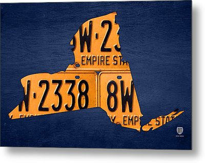New York State License Plate Map Metal Print by Design Turnpike