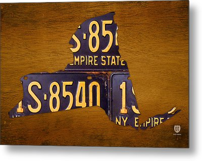 New York State License Plate Map - Empire State Orange Edition Metal Print by Design Turnpike