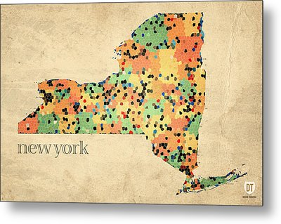 New York State Map Crystalized Counties On Worn Canvas By Design Turnpike Metal Print by Design Turnpike