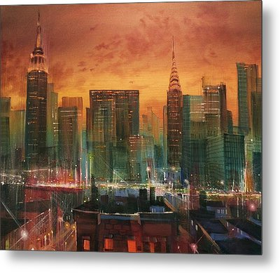 New York The Emerald City Metal Print by Tom Shropshire