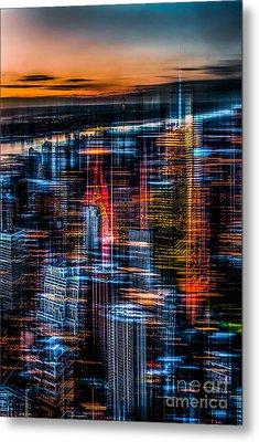 New York- The Night Awakes - Orange Metal Print by Hannes Cmarits
