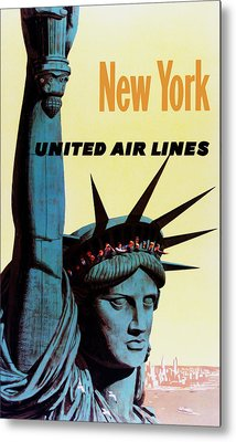 New York United Airlines Metal Print by Mark Rogan