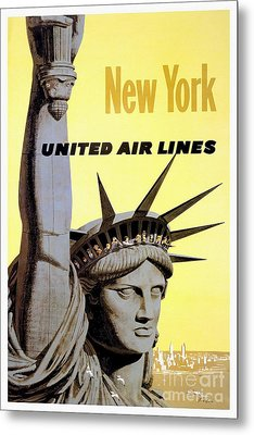 New York Vintage  Travel Poster Metal Print by Jon Neidert