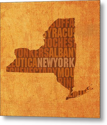 New York Word Art State Map On Canvas Metal Print by Design Turnpike