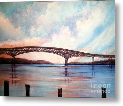 Newburgh Beacon Bridge Sky  Metal Print by Janine Riley