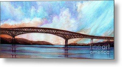 Newburgh - Beacon Bridge Sky Pano  Metal Print by Janine Riley