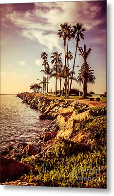 Newport Beach Jetty Vintage Filter Picture Metal Print by Paul Velgos
