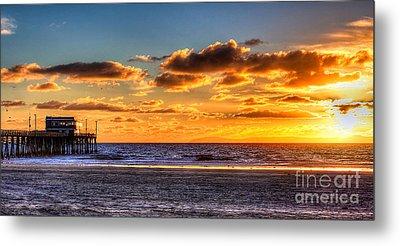 Newport Beach Pier - Sunset Metal Print by Jim Carrell