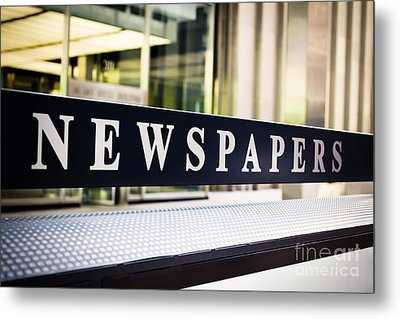 Newspapers Stand Sign In Chicago Metal Print by Paul Velgos