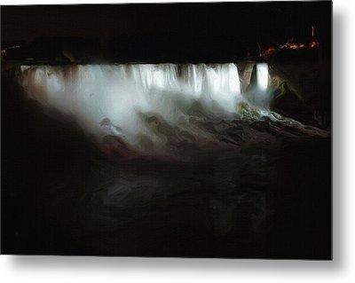 Niagara Falls By Night Metal Print by Ayse Deniz