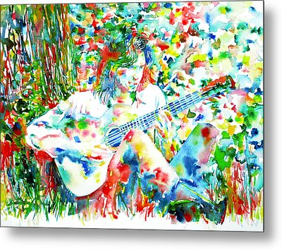 Nick Drake Playing The Guitar Under A Tree Watercolor Portrait Metal Print by Fabrizio Cassetta