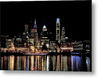 Night At Penn's Landing - Philadelphia Metal Print by Bill Cannon