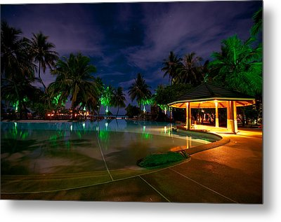 Night At Tropical Resort 1 Metal Print by Jenny Rainbow