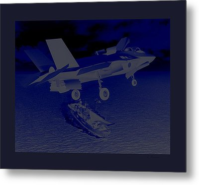 F 35 Strike Fighter Night Assault Carrier Landings Combat Conditions Us Marine Corps Metal Print by L Brown