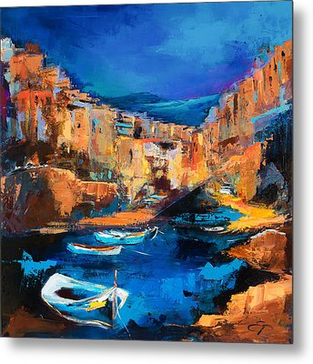 Night Colors Over Riomaggiore - Cinque Terre Metal Print by Elise Palmigiani