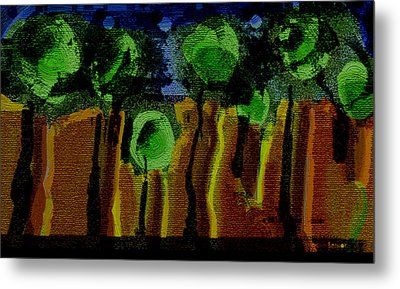 Night Forest Tapestry Metal Print by Lenore Senior