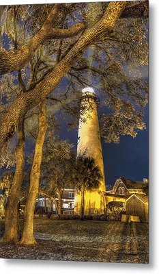 Night Lighthouse Metal Print by Debra and Dave Vanderlaan