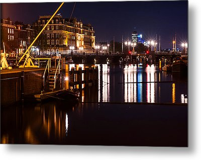 Night Lights On The Amsterdam Canals 2. Holland Metal Print by Jenny Rainbow