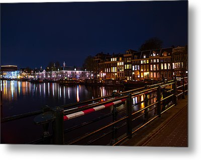 Night Lights On The Amsterdam Canals 5. Holland Metal Print by Jenny Rainbow