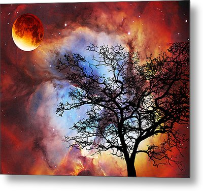 Night Sky Landscape Art By Sharon Cummings Metal Print by Sharon Cummings